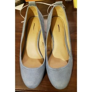 NWT Light Blue Faux Suede Low Block Pumps